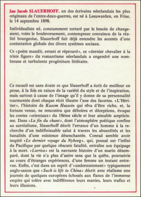 slauerhoff,littérature,traduction littéraire,éditions circé