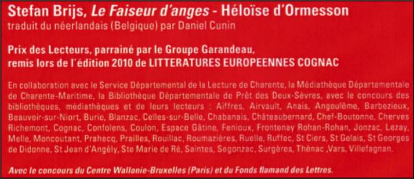 stefan brijs,cognac,prix des lecteurs 2010,le faiseur d'anges,traduction littéraire