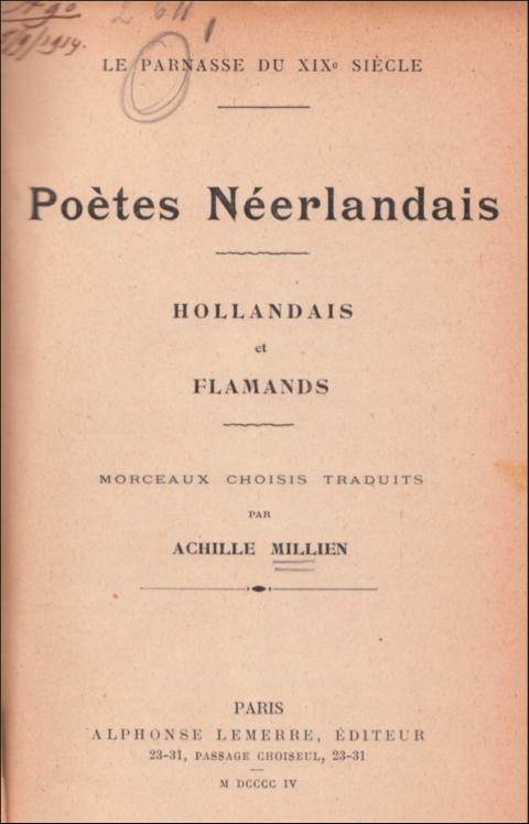 achille millien,marie boddaert,poètes néerlandais,anthologie,flamands,lya berger,alphonse lemerre