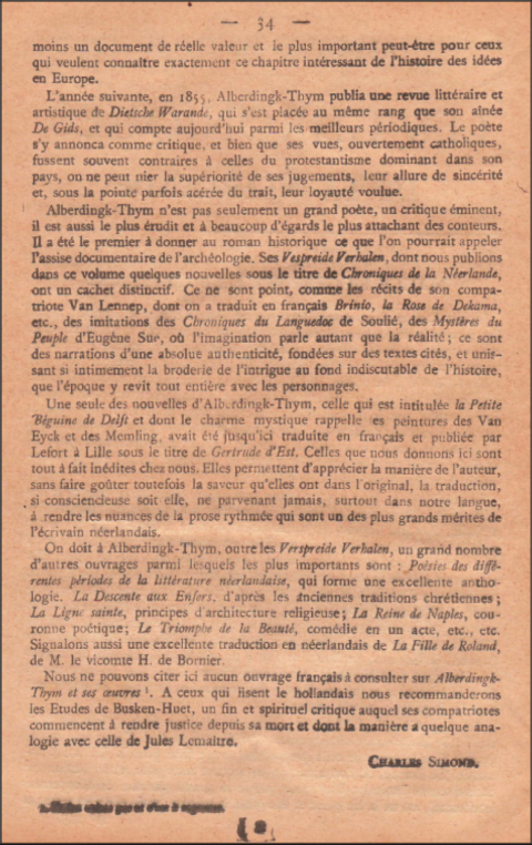 littérature,hollande,pays-bas,france,traduction,thijm,charles simond,henri gautier