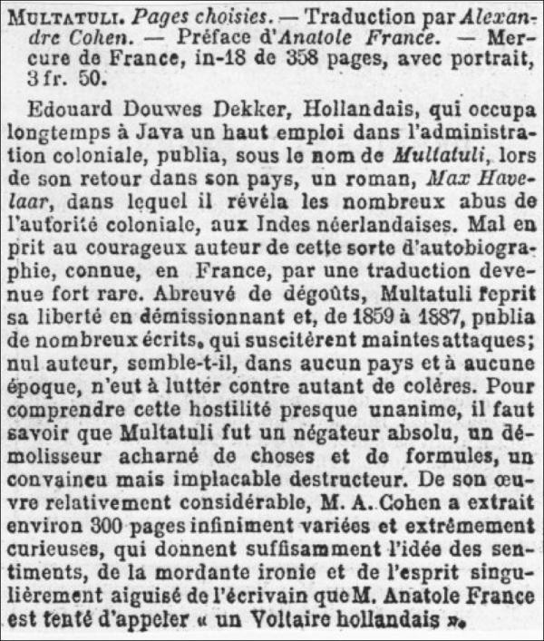 multatuli,anatole france,alexandre cohen,mercure de france,henri de régnier
