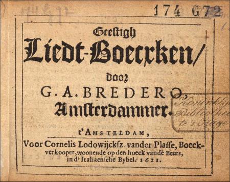 Bredero, poème, théâtre, Amsterdam, Pays-Bas, comédie