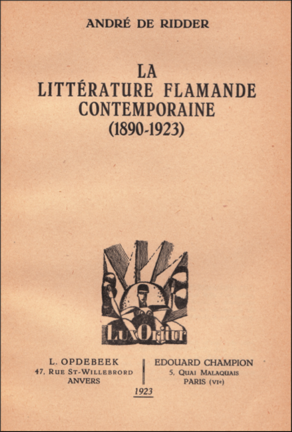 littérature flamande,andré de ridder,la revue belge,iwan gilkin,traduction